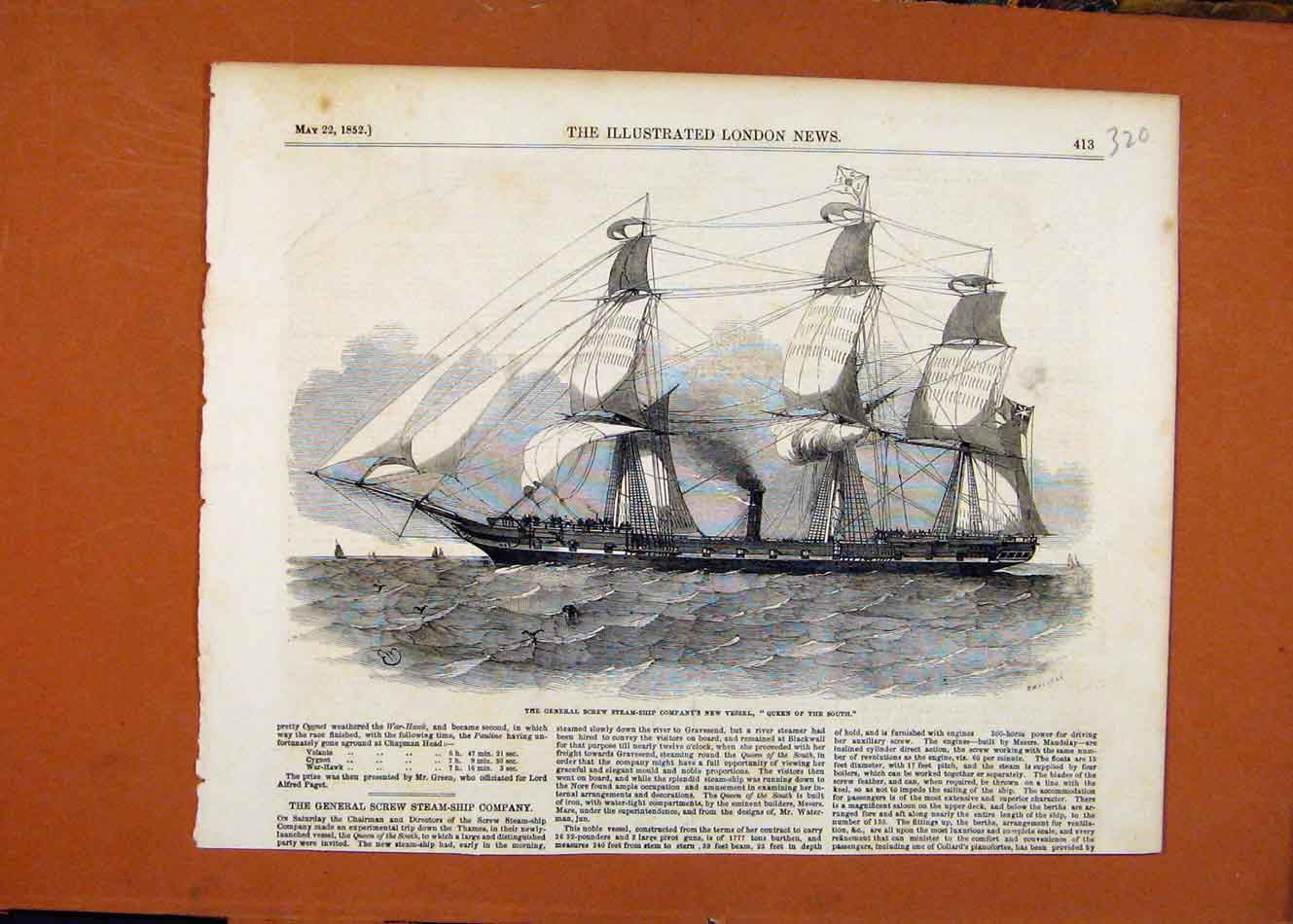 Print Gneral Screw Steam Ship Queen South C1852 208260 Old Original