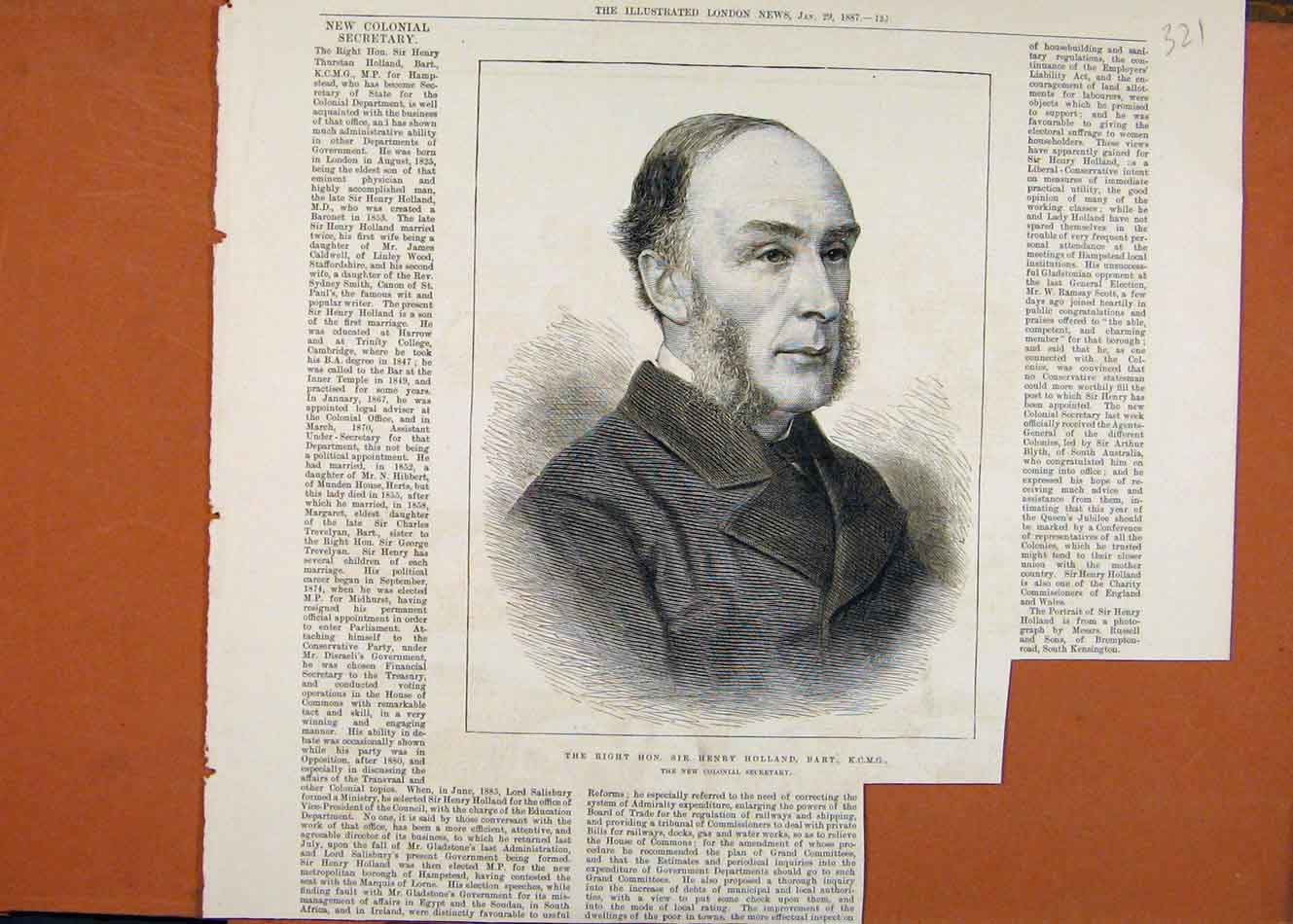 [Old Antique Print Sir Henry Holland Bart C1887 Illustrated London News 218260 ]