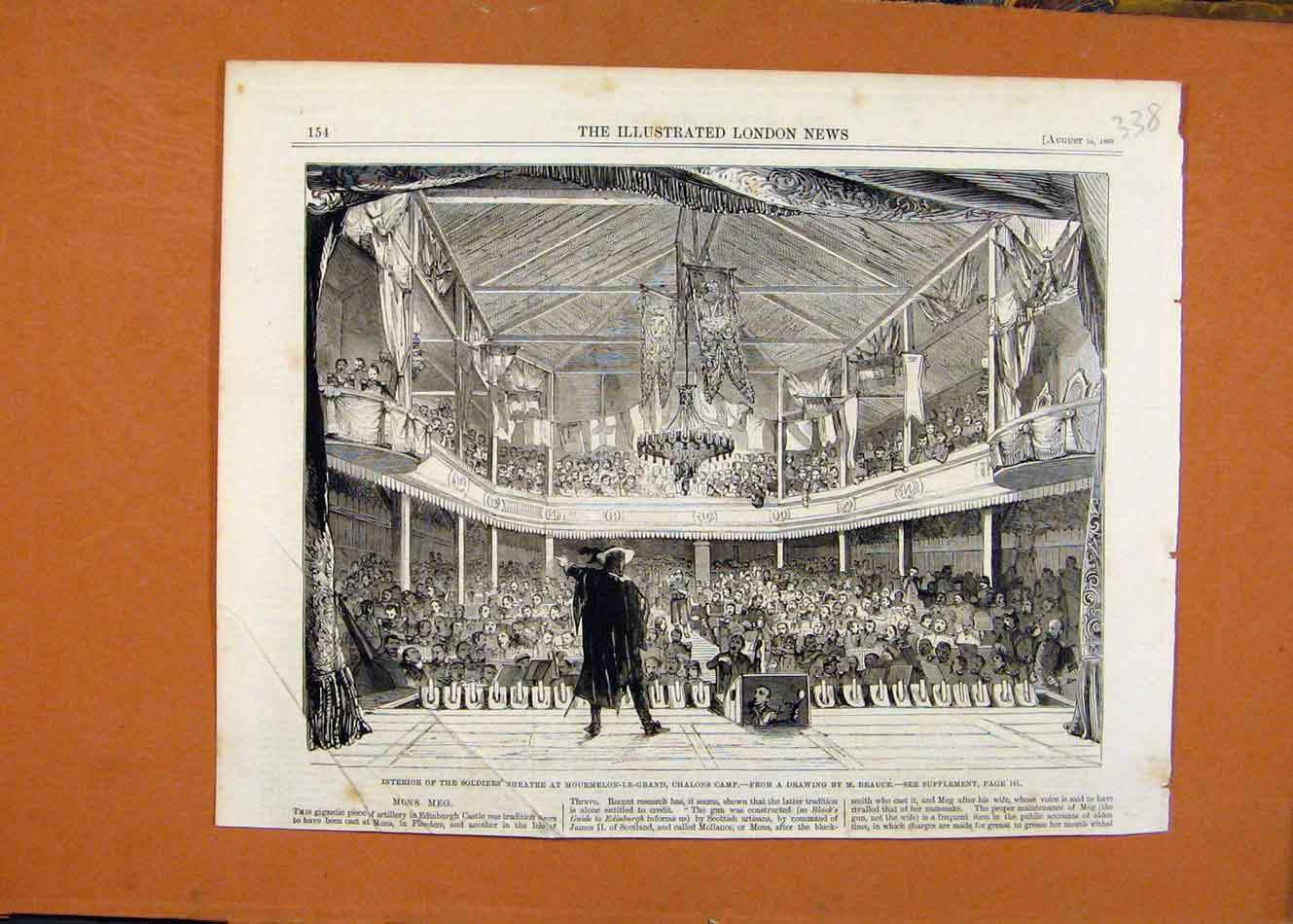 Print Soldiers Theatre Mourmelon Le Grand Chalons C1860 388260 Old Original