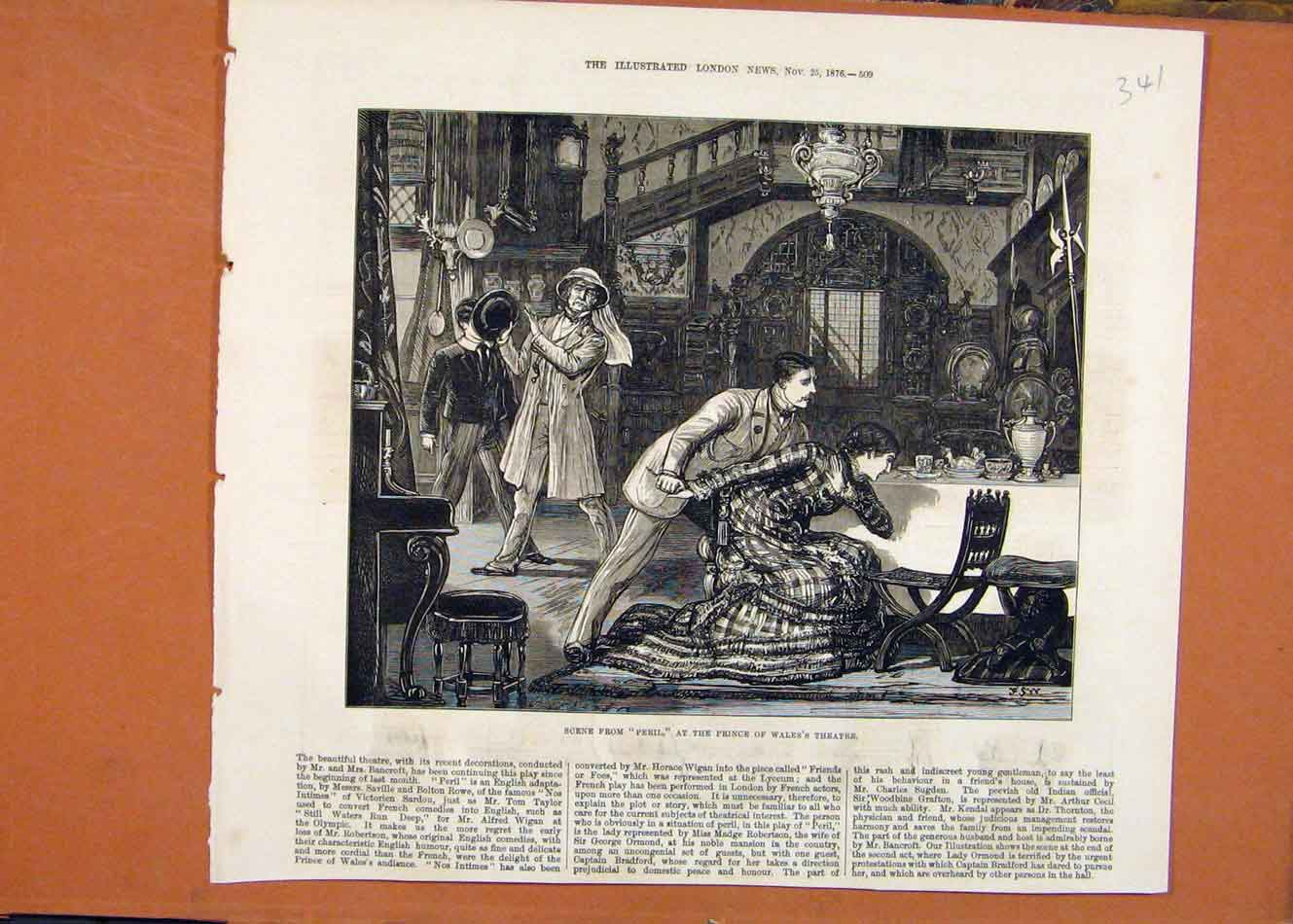 Print Peril At Prince Wales Theatre C1876 London News 418260 Old Original