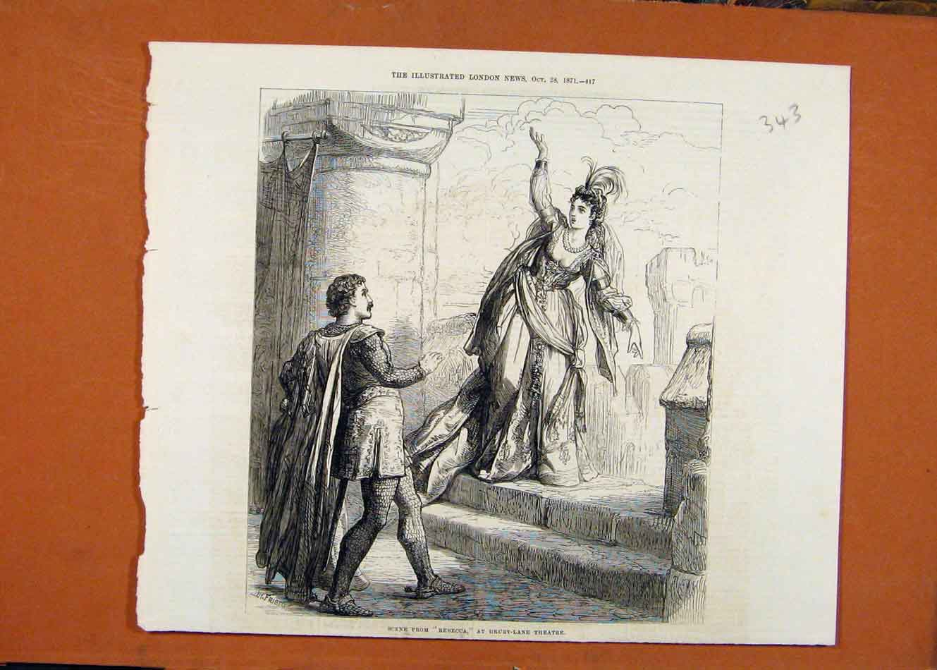 Print Rebecca Drury Lan Theatre C1871 Illustrated London News 438260 Old Original