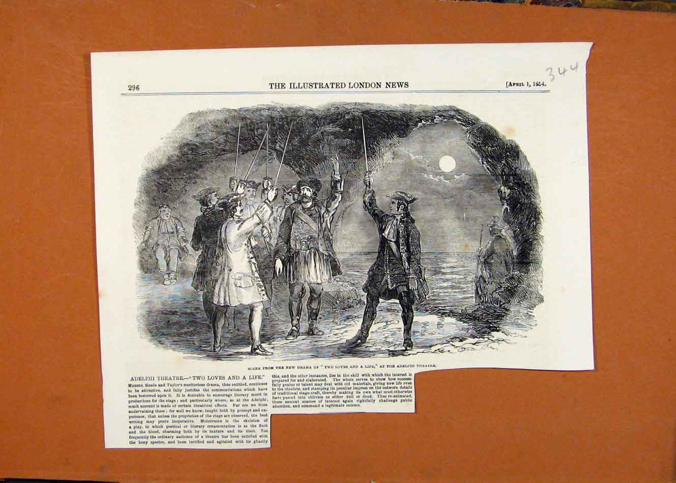 Print Adelphi Theatre Two Loves And A Life C1854 London News 448260 Old Original