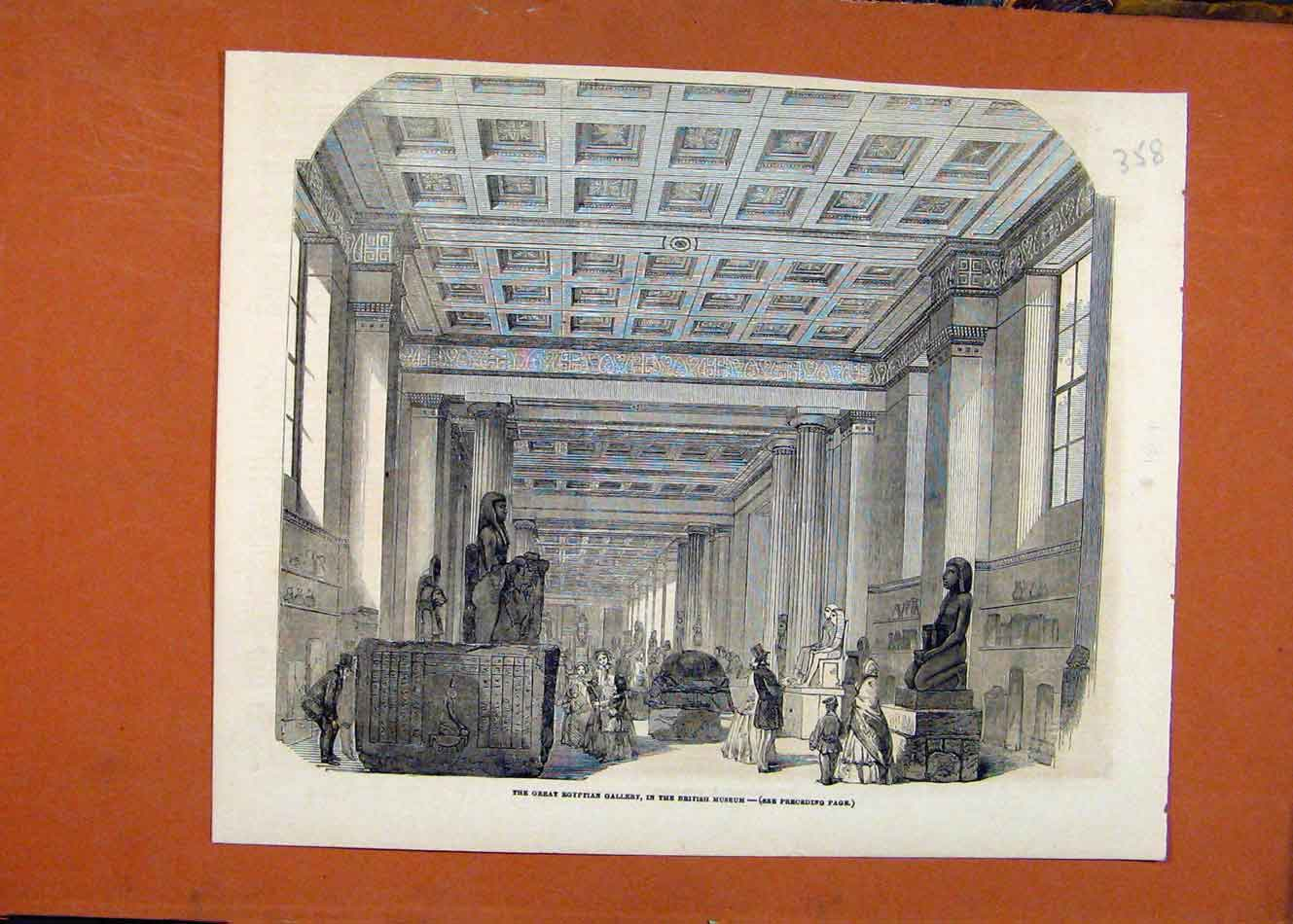 Print Great Egyptian Gallery C1864 Illustrated London News 588260 Old Original
