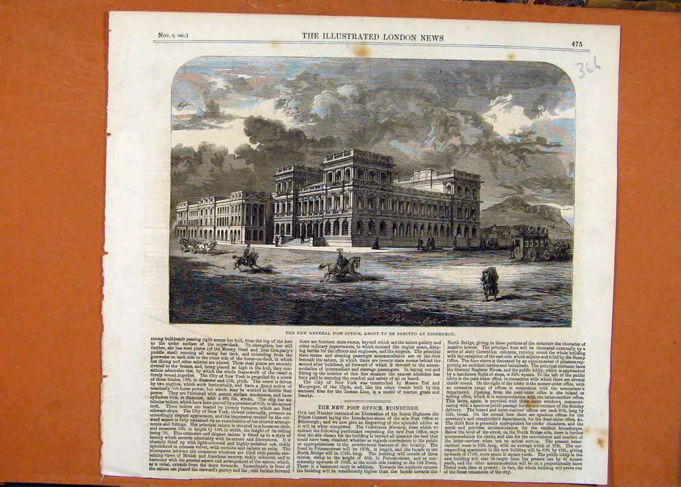 Print Post Office Edinburgh C1861 Illustrated London News 668260 Old Original