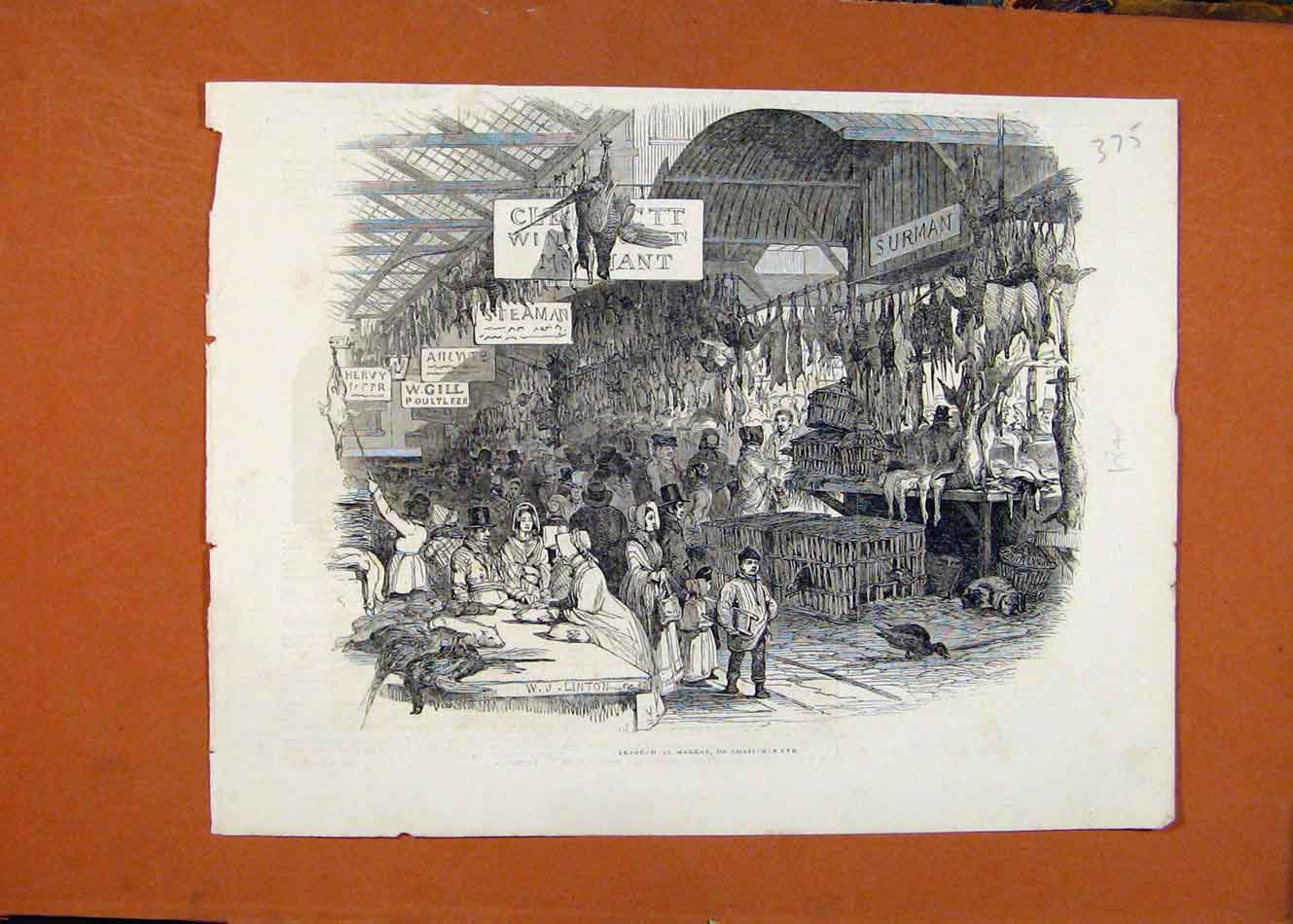 Print Leadenill Market Christmas Eve C1841 London News 758260 Old Original