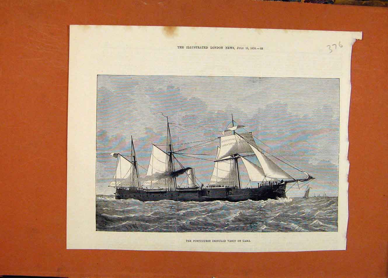Print Portuguese Ironclad Ship Boat C1876 London News 768260 Old Original