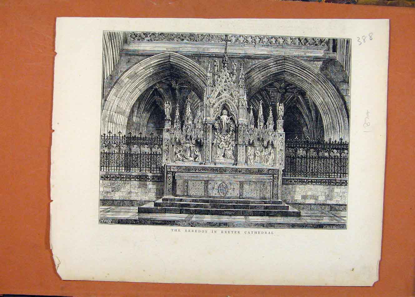 Print Reredos In Exeter Cathedral C1874 London News 888260 Old Original