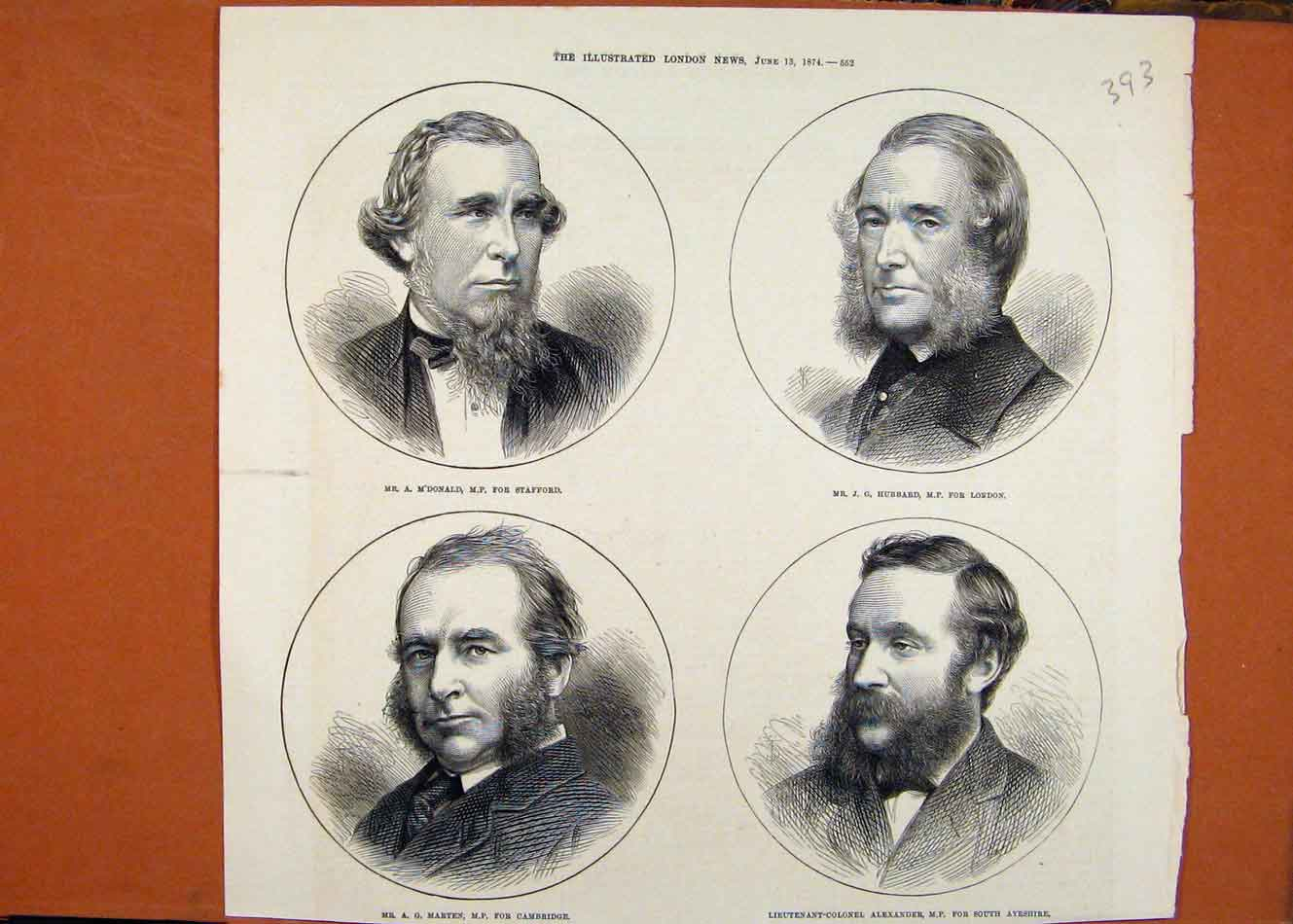 Print Portraits Mdonald Stafford Hubbard London Marten C1874 938260 Old Original