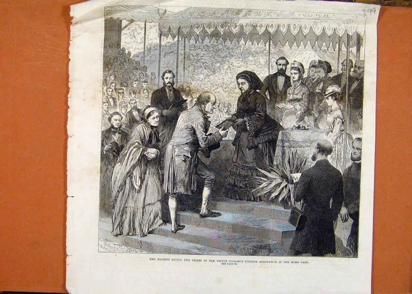 Print Her Majesty Giving Prizes Prince Consort Windor 998260 Old Original