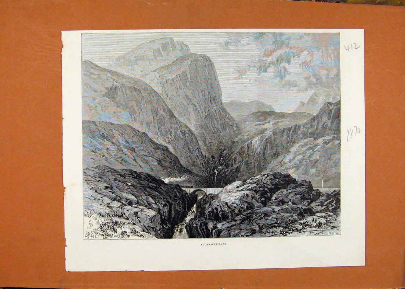 Print C1870 Auchnashellach Mountain Illustrated London News 128260 Old Original