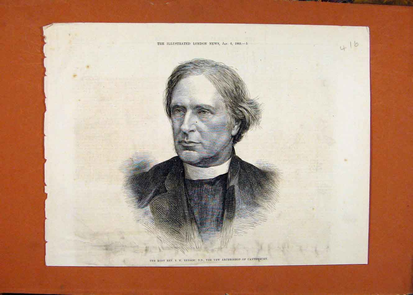 Print Rev Benson Archbishop Canterbury C1883 London News 168260 Old Original