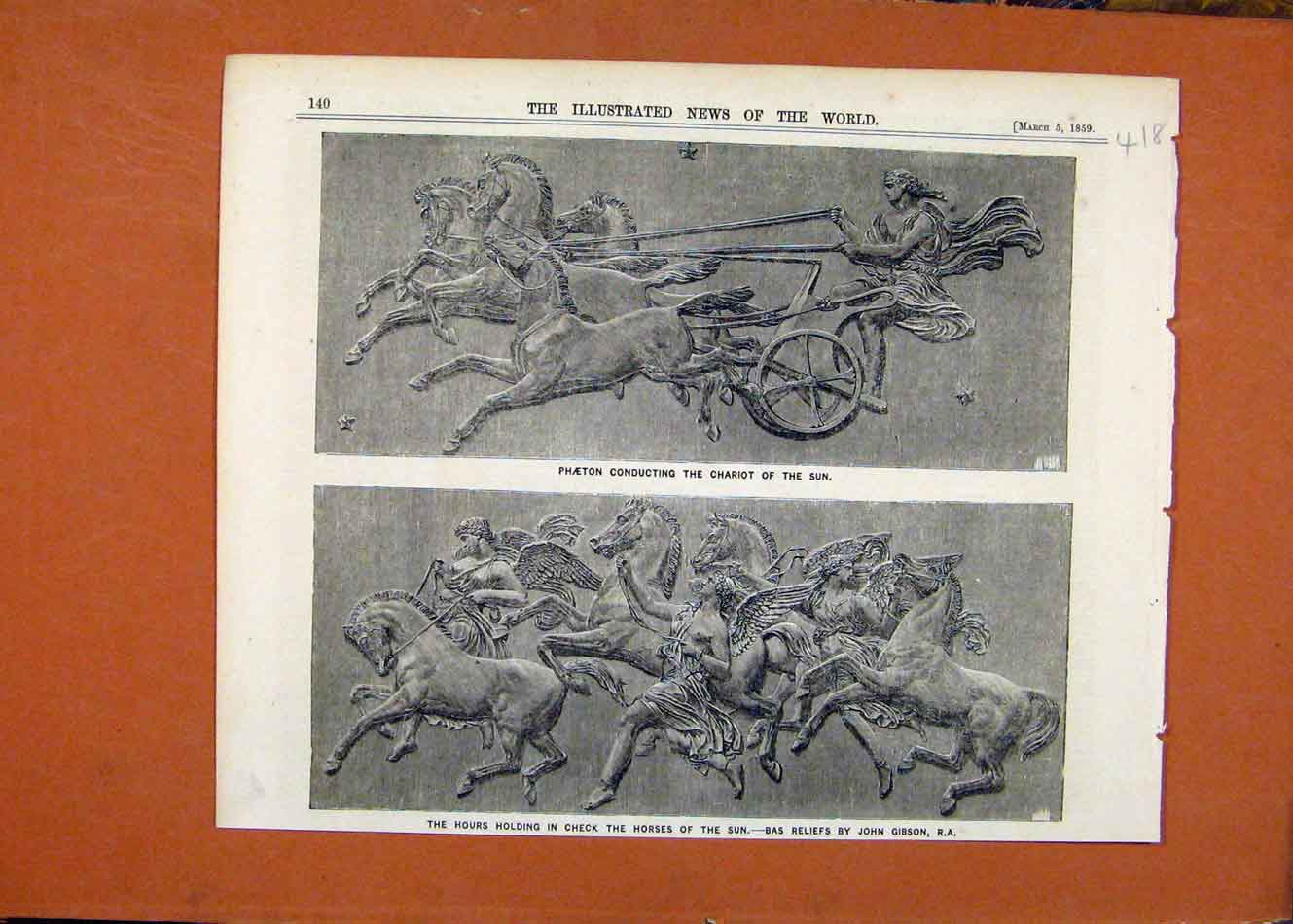 Print Phaeton Chariot Sun Hours Holding Check C1859 188260 Old Original