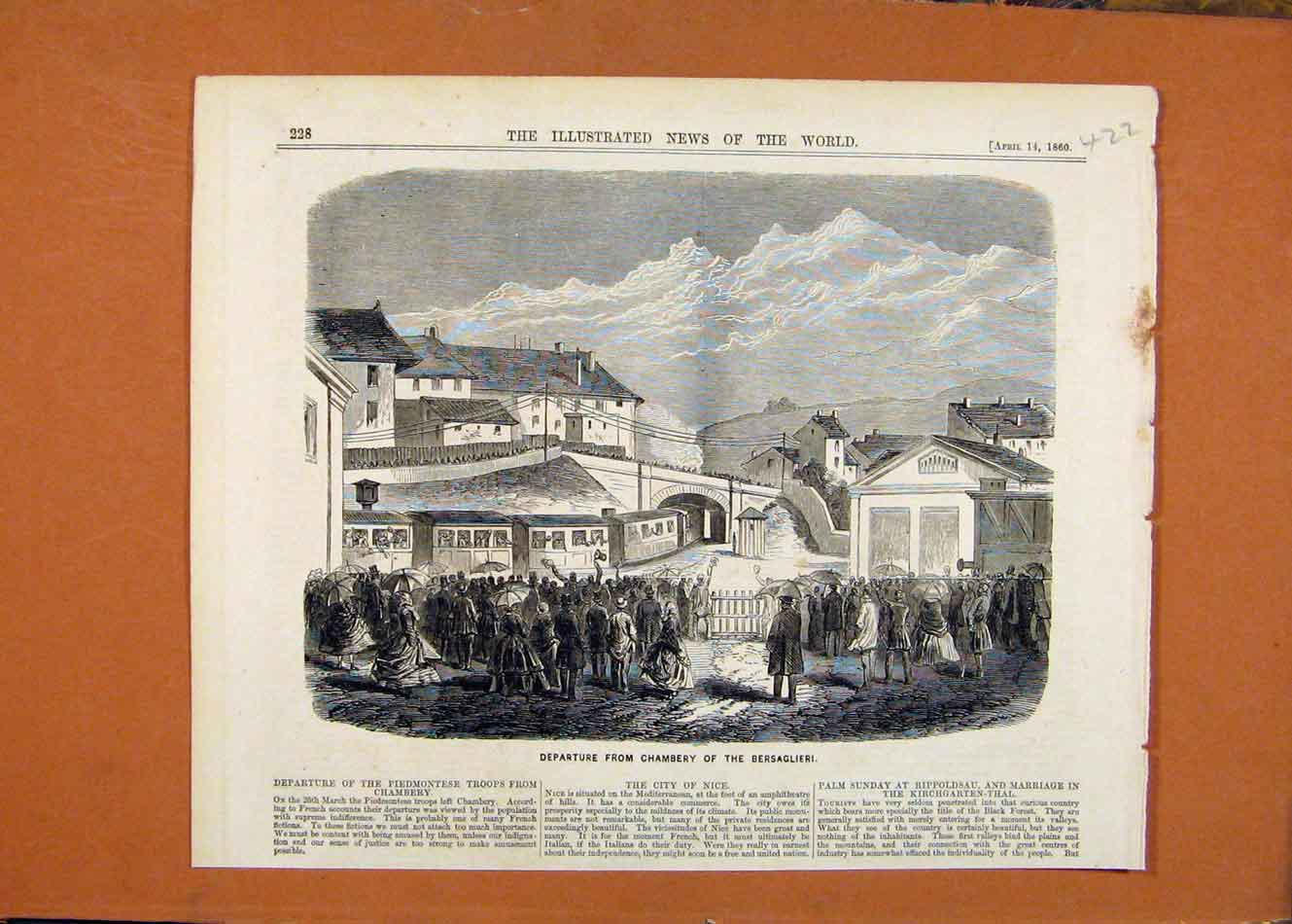 Print Departure Chambery Bersaglieri C1860 London News 228260 Old Original