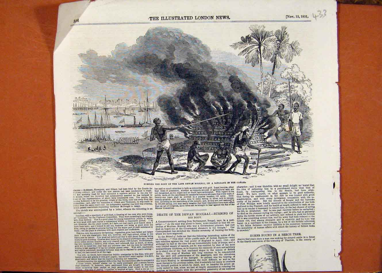 Print Burning Body Late Dewan Moolraj Sandbank Ganges C1851 338260 Old Original