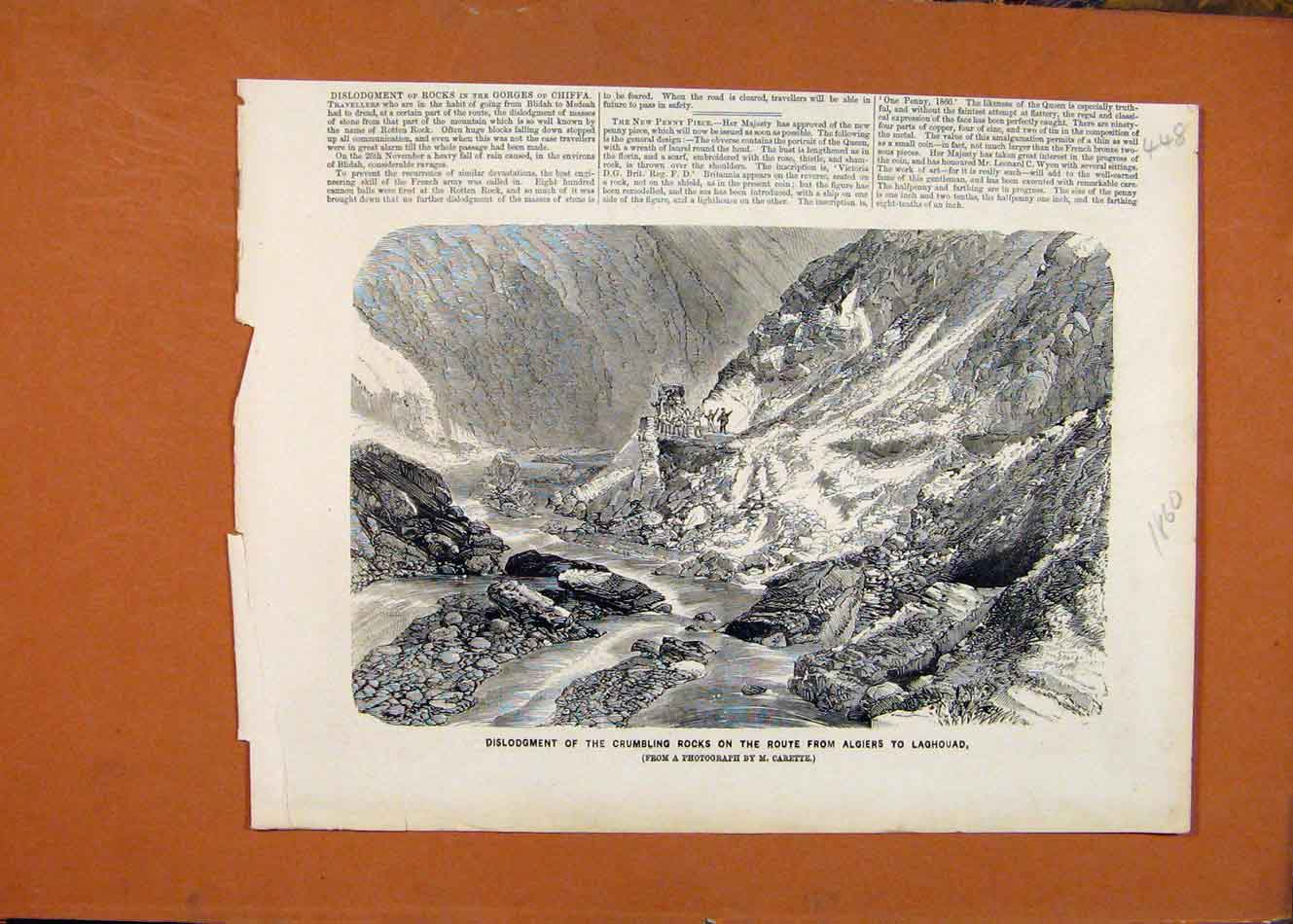 Print Algierd Laghouad Crumbling Rocks C1860 London News 488260 Old Original