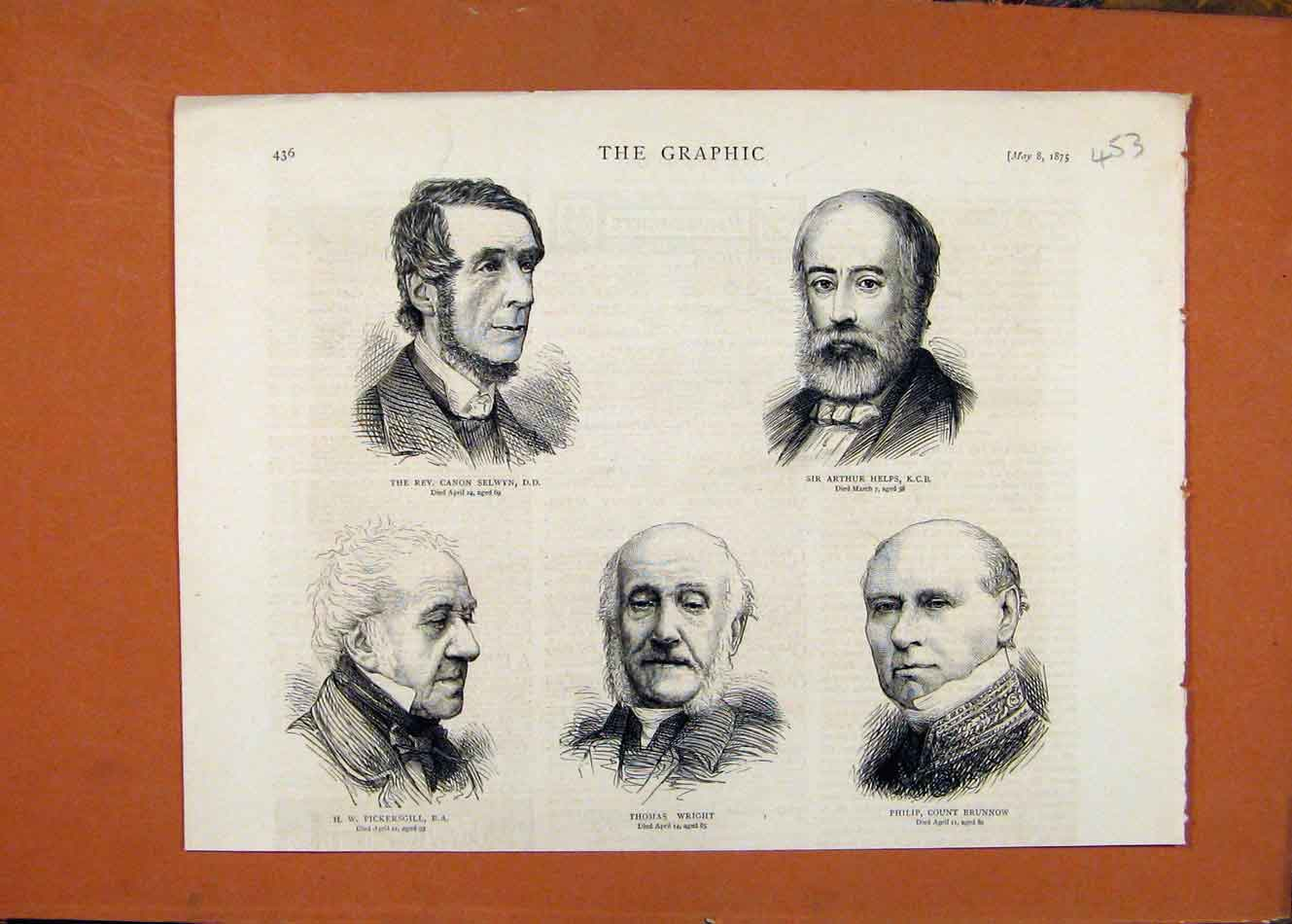 [Old Antique Print The Graphic C1875 Portraits Rev Selwyn Arthur Helps 538260 ]