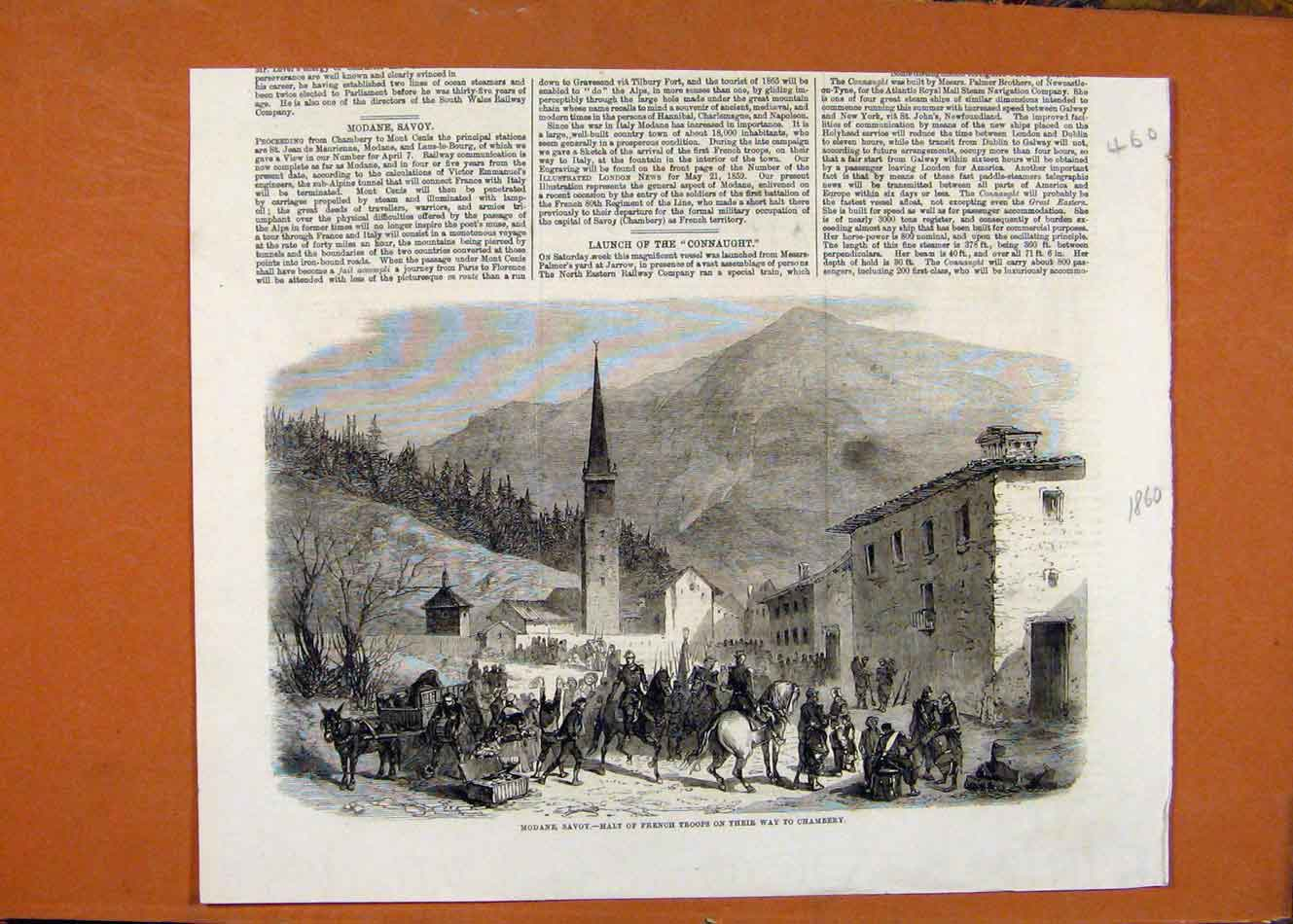 Print C1860 French Troops Chambery Illustrated London News 608260 Old Original