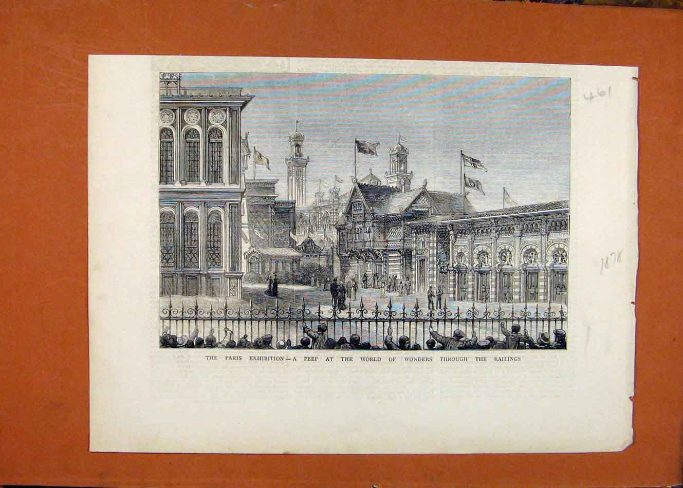 Print Paris Exhibition Peep Through Railings C1878 618260 Old Original