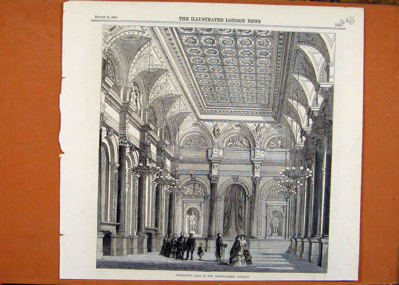Print Banqueting Hall Clothworkers Company C1859 688260 Old Original