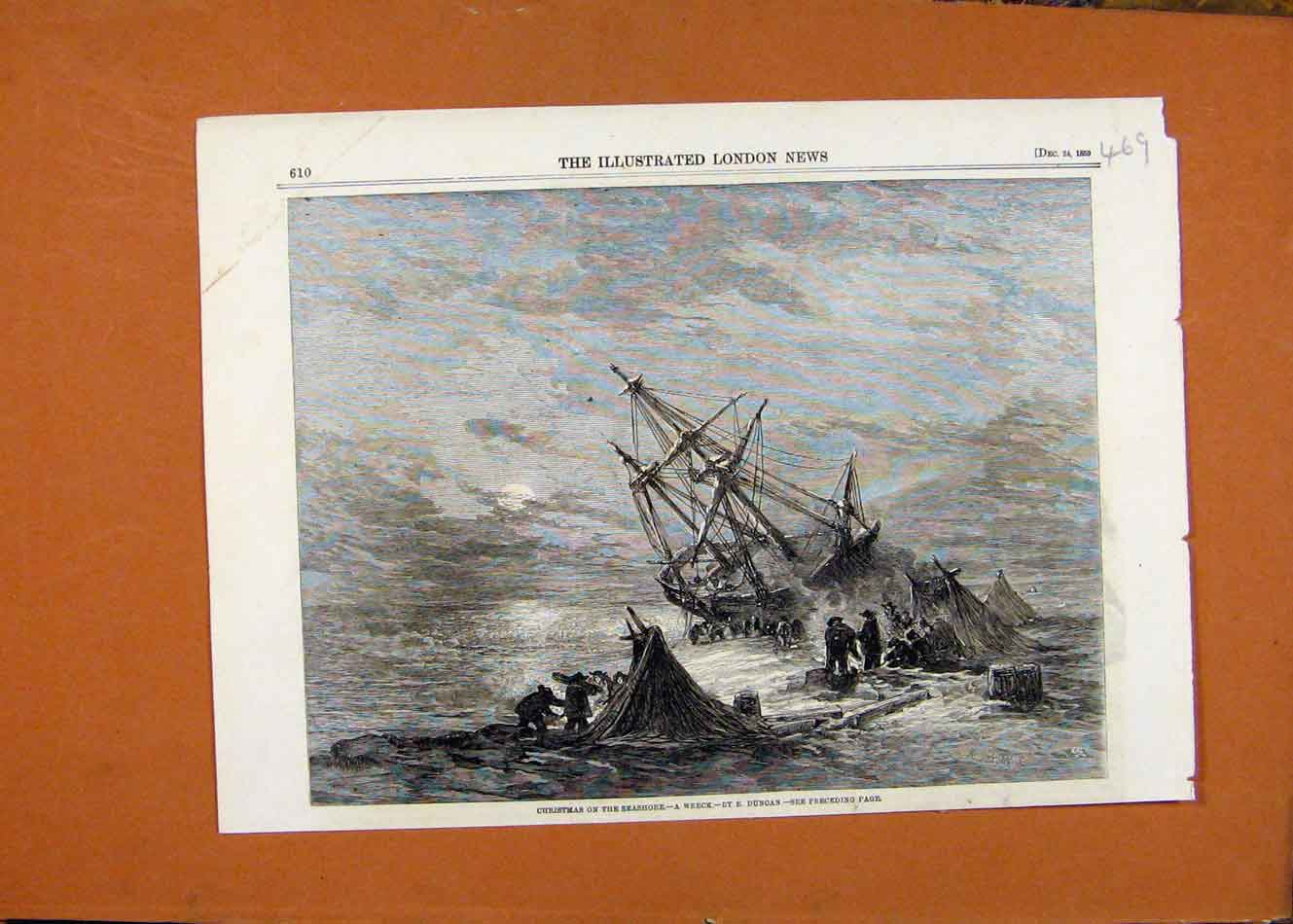 Print Christmas Seashore Wreck C1859 Illustrated London News 698260 Old Original