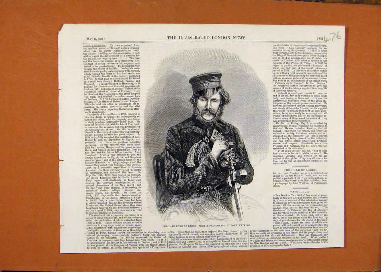 Print Late Duke Leeds Portrait C1859 London News 768260 Old Original