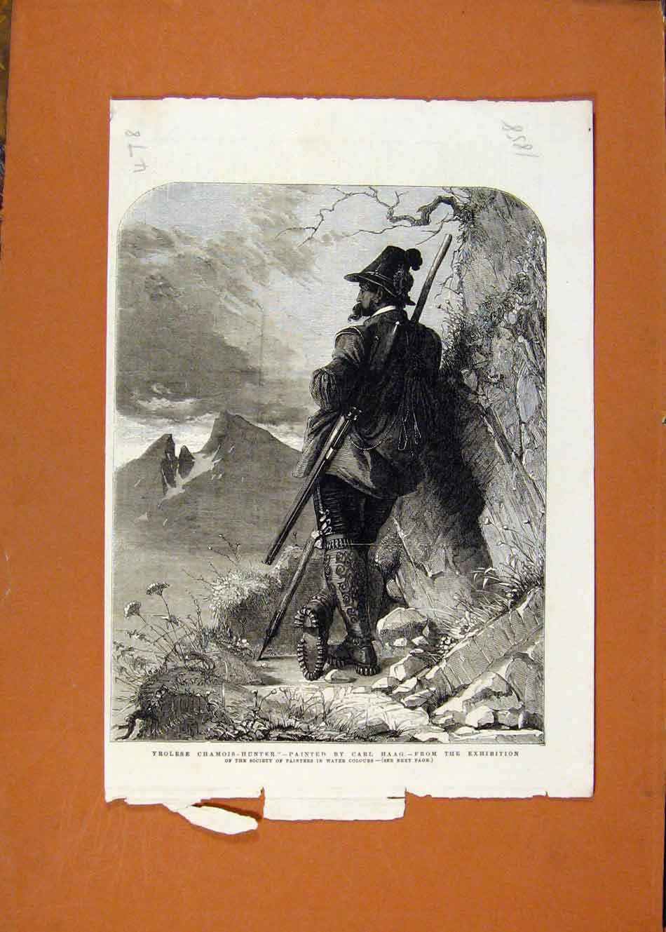 Print Yrolese Camois Hunter Exhibition Painters C1858 788260 Old Original