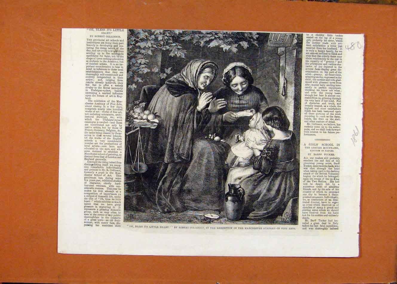 Print C1861 Exhibition Manchester Academy Fine Arts 808260 Old Original