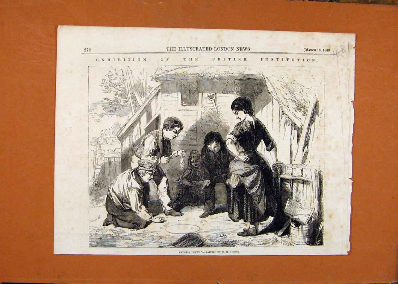 Print Exhibition British Institution Painters C1858 818260 Old Original
