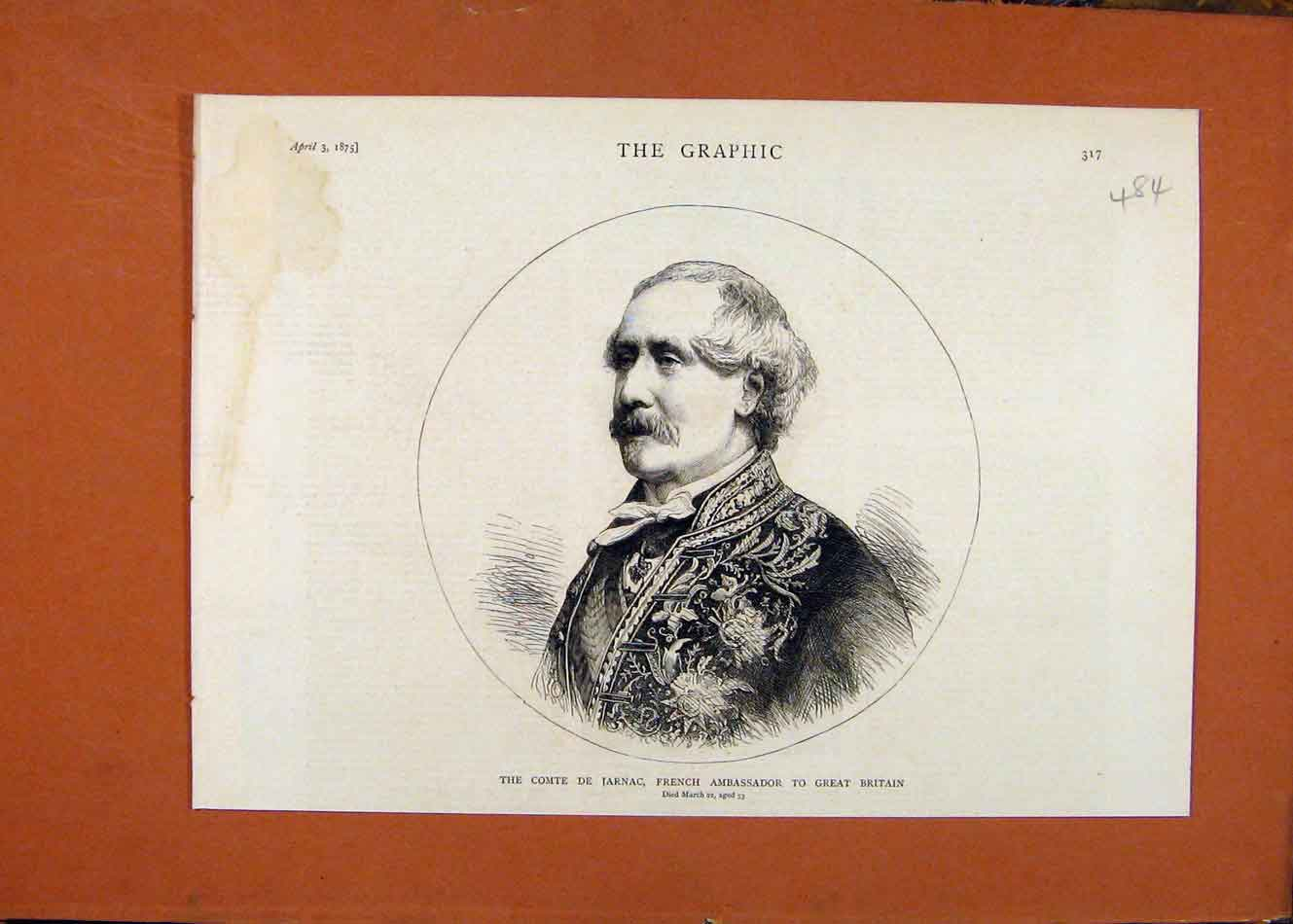 [Old Antique Print The Graphic C1875 French Ambassador Comte Jarnac 848260 ]