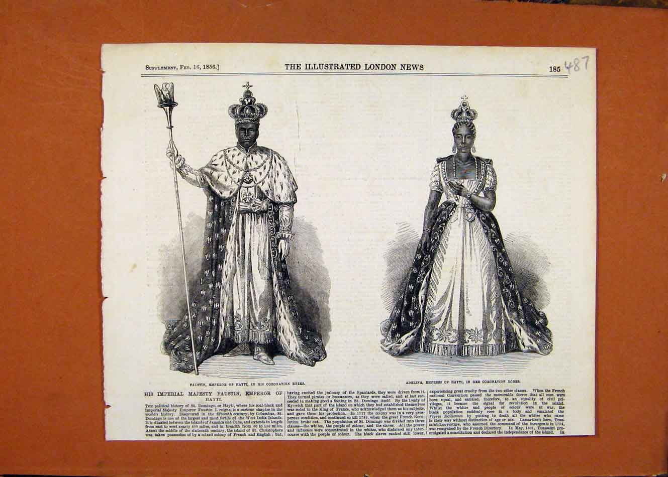 Print C1856 London News Emperor Empress Hayti 878260 Old Original