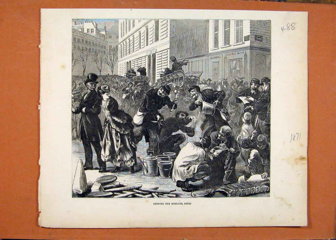Print Feeding Moblots Paris C1871 Illustrated London News 888260 Old Original