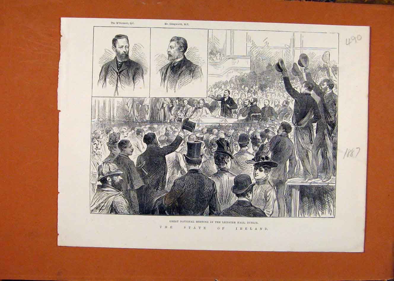 Print State Ireland Great National Meeting Dublin C1887 908260 Old Original