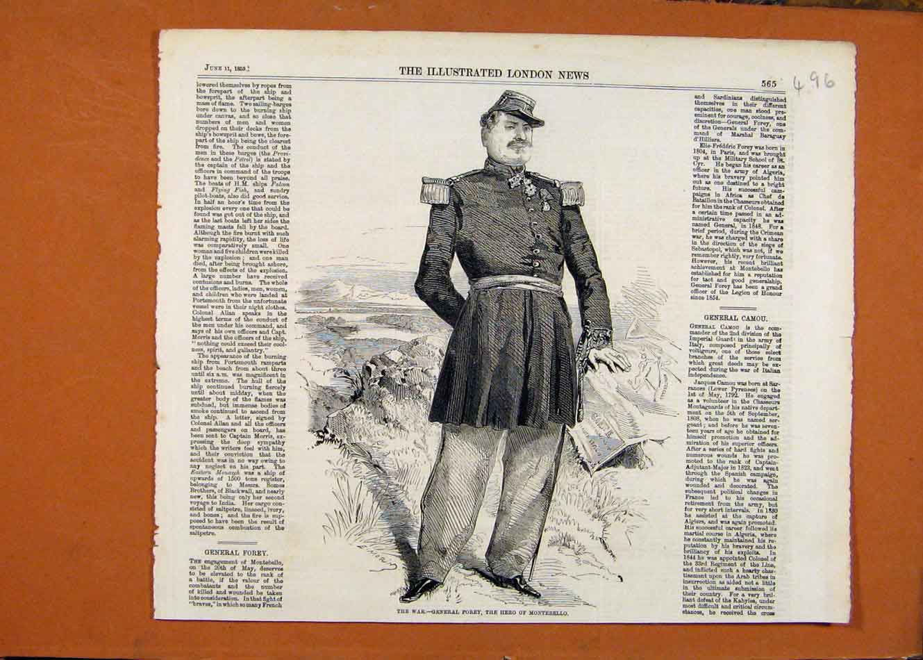 Print C1859 War General Forey Hero Montebello London News 968260 Old Original