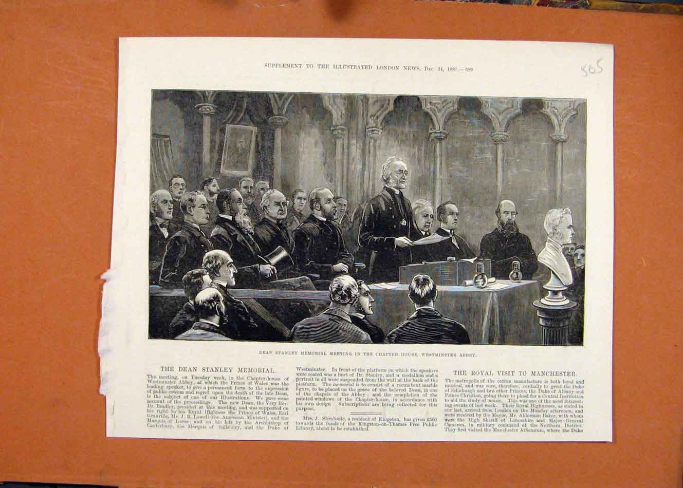 Print Dean Stanley Memorial Chapter House Westminster C1881 058260 Old Original