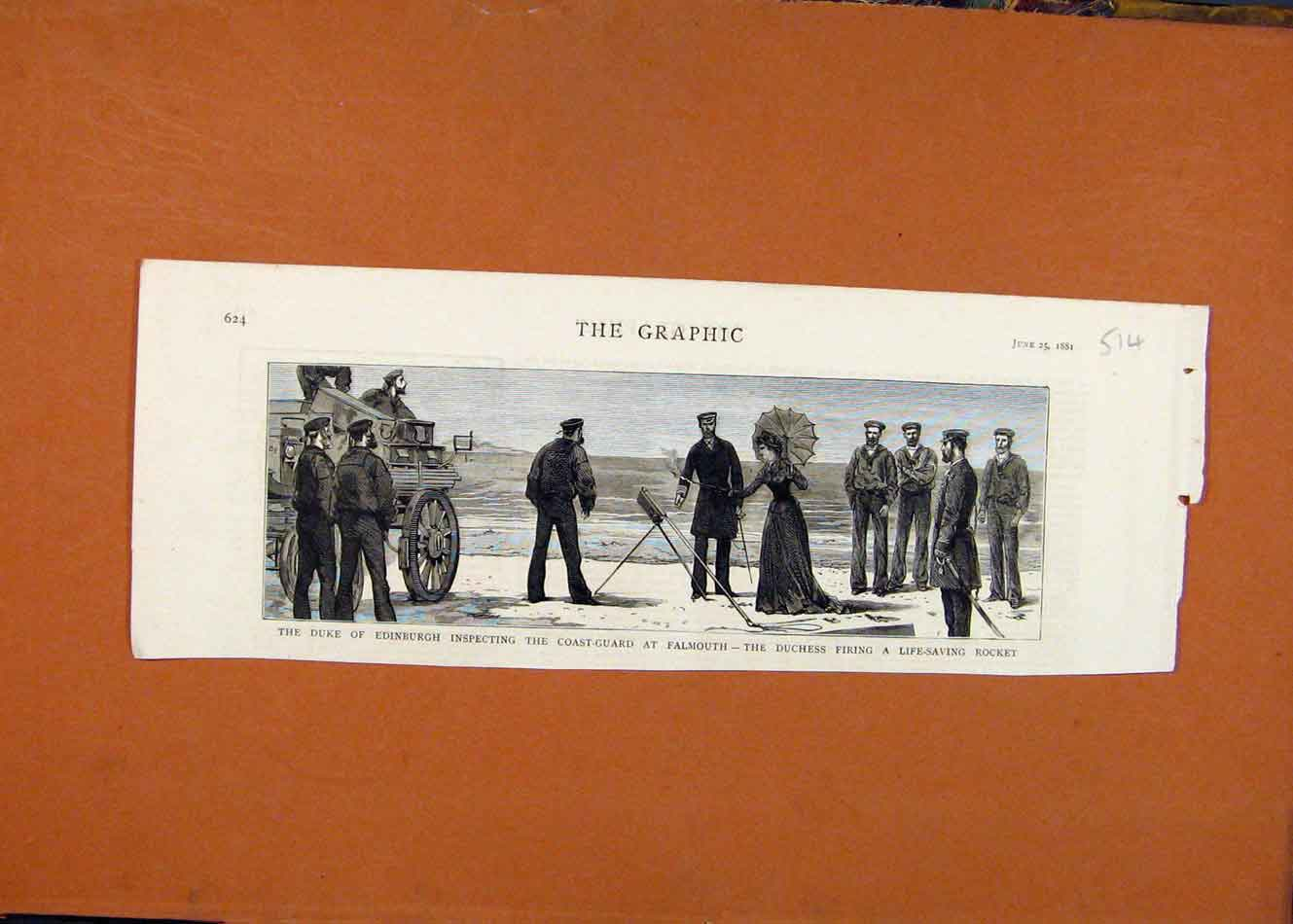 [Antique Print The Graphic C1881 Duke Edinburgh Coast Guard Falmouth 148260 ]