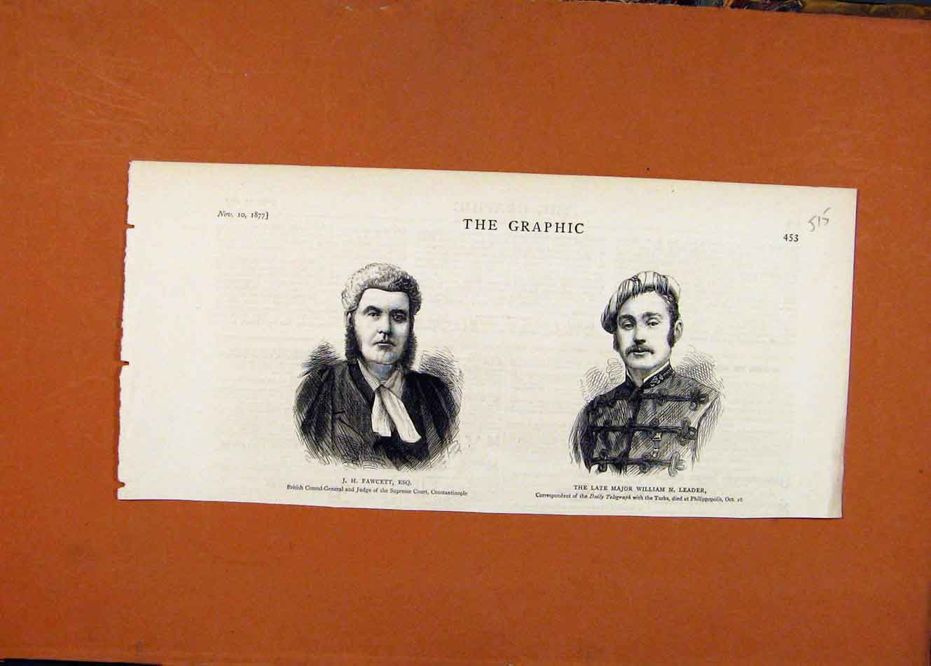 Print Judge Supreme Court Faqcett Late Major Leader C1877 158260 Old Original