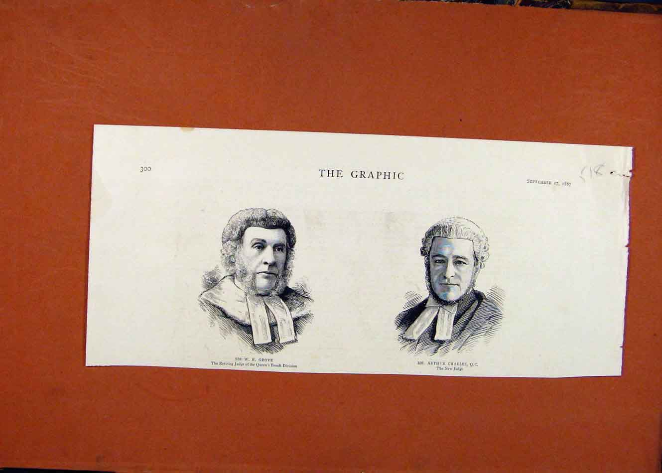 [Old Antique Print Sir Grove Arthur Charles Portraits C1887 The Graphic 188260 ]