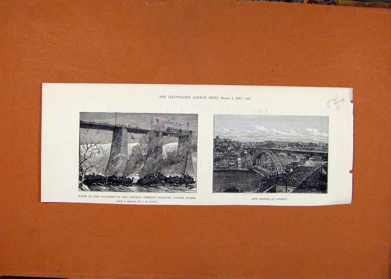 Print Accident Central Vermont Railway Us Bridge Oporto 1887 248260 Old Original