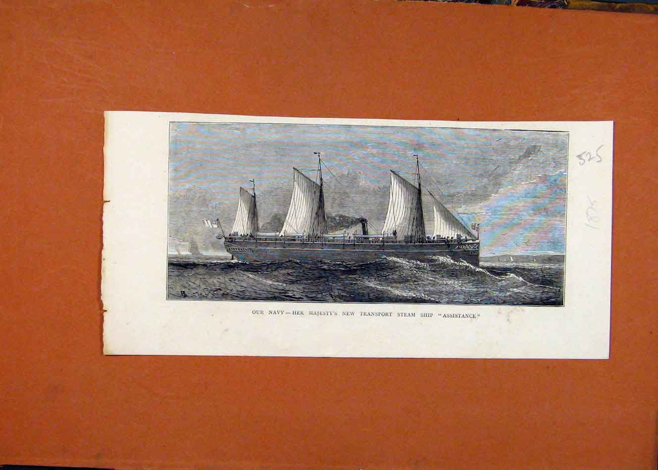 Print Navy Her Majestys Transport Steam Ship C1876 258260 Old Original