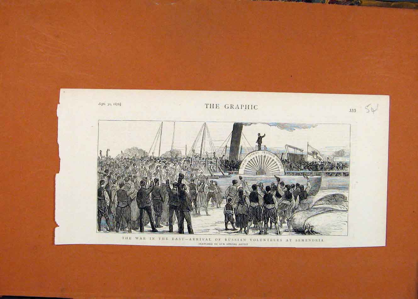 [Antique Print War In East Russian Volunteers Semendria C1876 Graphic 418260 ]