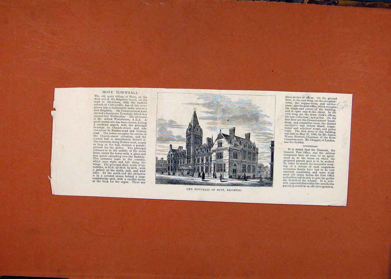 Print Townhall Hove Brighton C1882 The Graphic 438260 Old Original