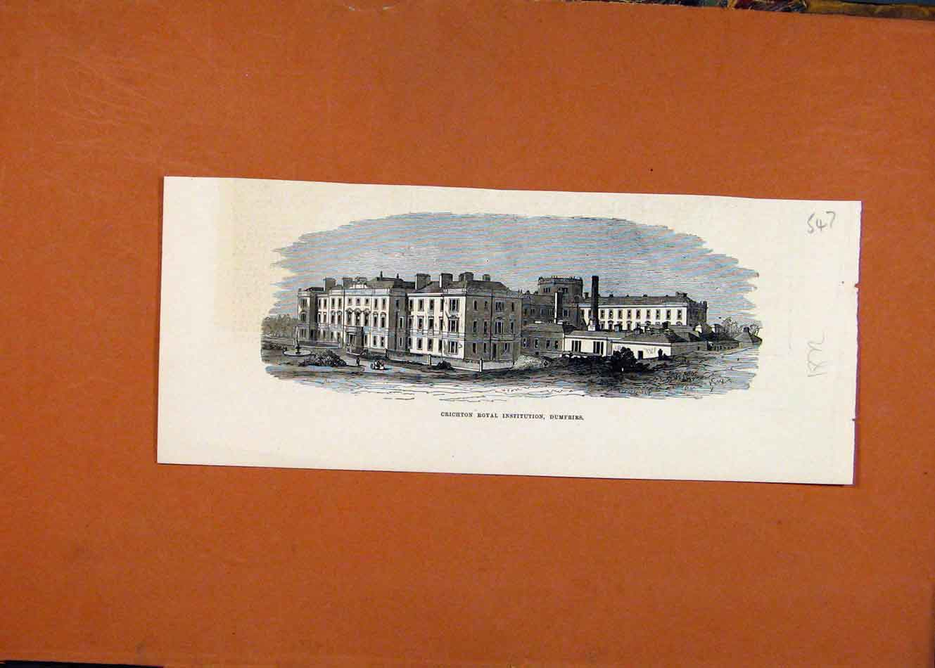 Print Crichton Royal Institution Dumfries C1872 London News 478260 Old Original
