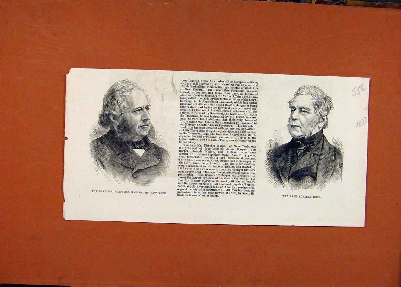 Print Late Fletcher Harper New York Admiral Rous C1877 568260 Old Original