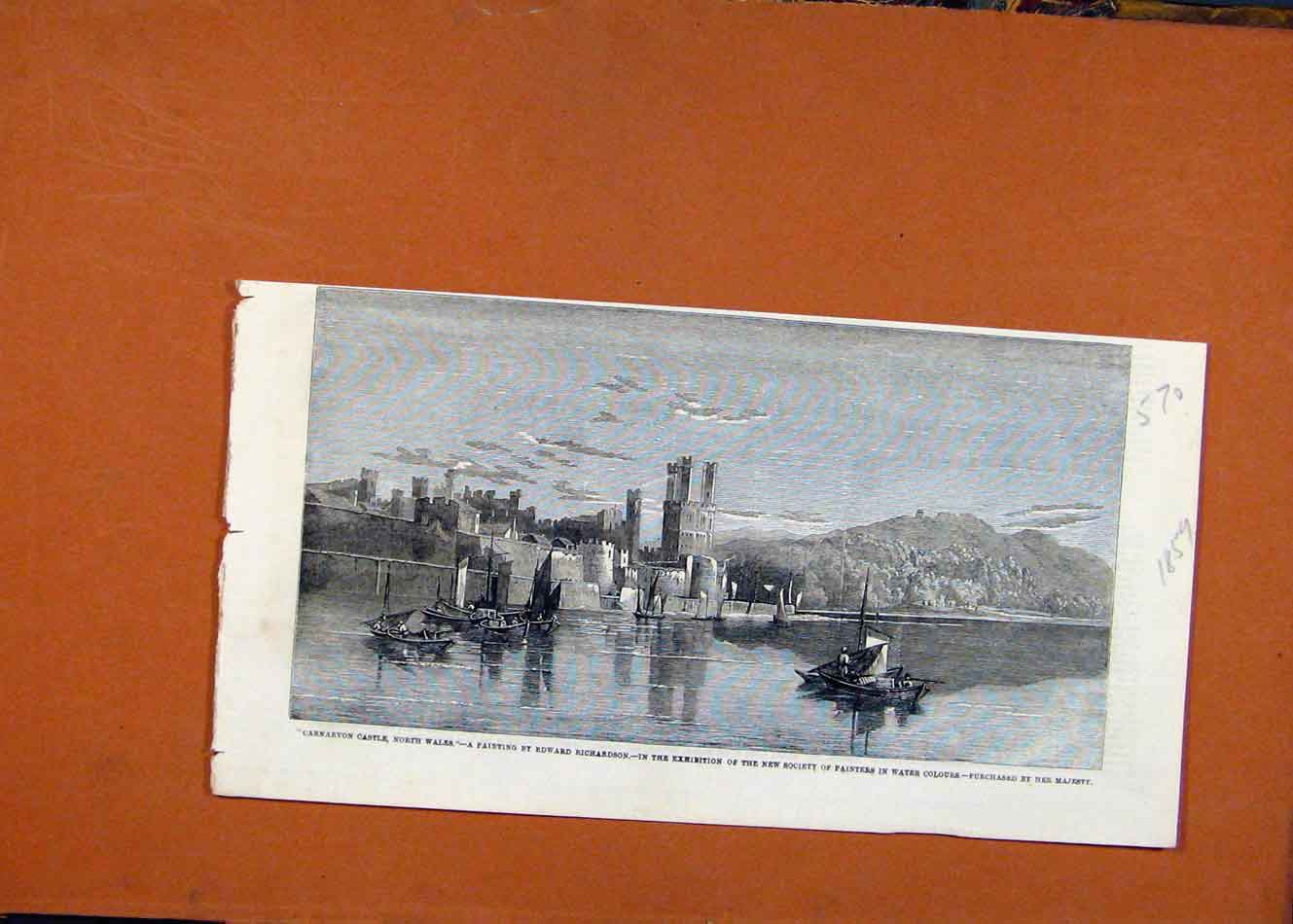 Print Carnarvon Castle North Wales Exhibition Painters C1859 708260 Old Original