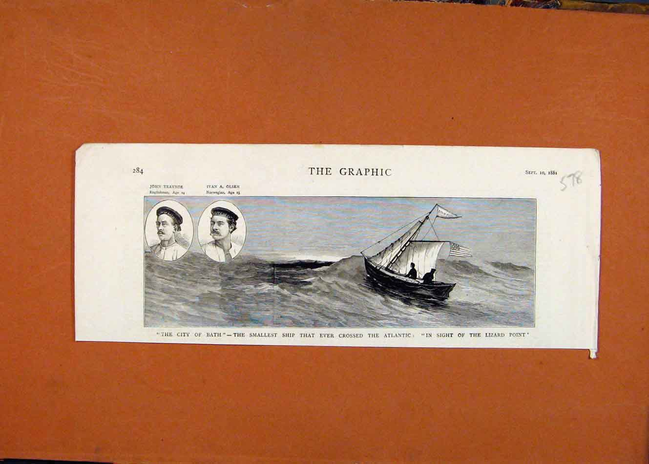 [Print City Bath Smallest Ship Crossing Atlantic C1881 Prin 788260 Old Original]