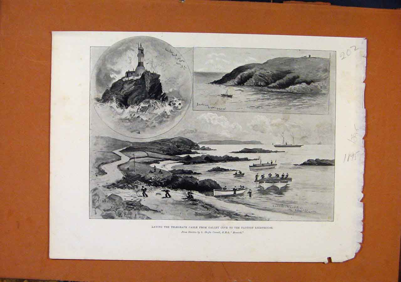 Print Laying Telegraph Cable Cove Fanstnet Lighthouse C1895 028270 Old Original