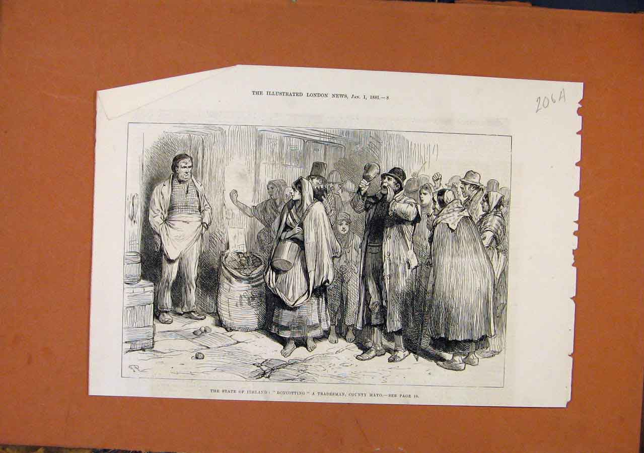 Print State Ireland Boycotting Mayo C1881 London News 06A8270 Old Original