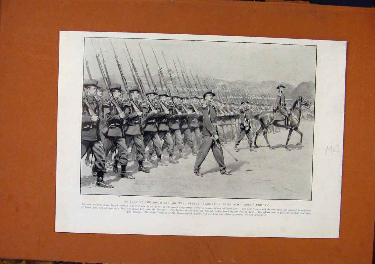 Print C1903 South African War French Infantry Boer Uniform 138270 Old Original