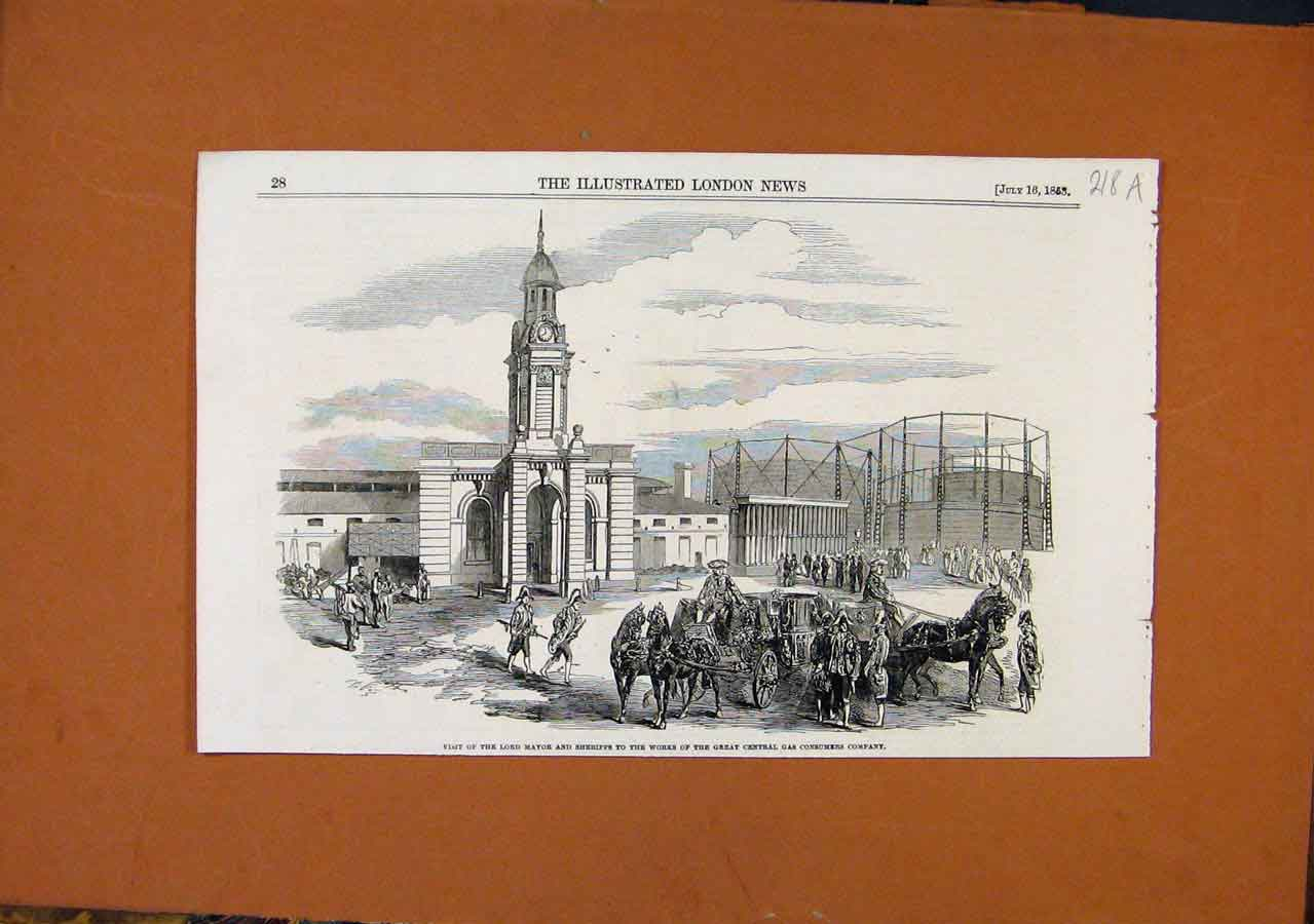 Print Lord Mayore Sheriffs Visit Central Gas Consumers C1853 18A8270 Old Original