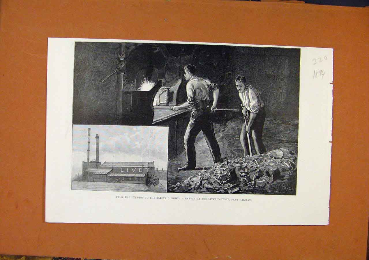 Print C1894 Kivet Factory Halifax Electric Light 208270 Old Original